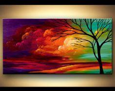 Zeitgenössische Baum Acryl malen bunte Landschaft von OsnatFineArt