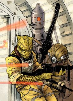 """Topps Trading Card: Galaxies 4 set: Star Wars Bounty Hunters. The reptilian Bossk (meaning """"Devours His Prey"""" in Dosh) was a Trandoshan bounty hunter who was the pilot of the Hound's Tooth and held the title of monarch of the Qotile system. IG-88 was an assassin droid line designed by Holowan Laboratories. Zuckuss, a successful Gand bounty hunter referred to as """"The Uncanny One"""" by his fellow hunters, was renowned for his ability to discover hidden quarry."""