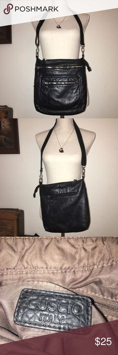 "Guscio Italy Leather Crossbody Guscio Italy leather Zipper Cross Body! Super soft leather, tons of pockets! Great go to bag!! Measurements 11""x11"" OFFER'S WELCOME Guscio Bags Crossbody Bags"