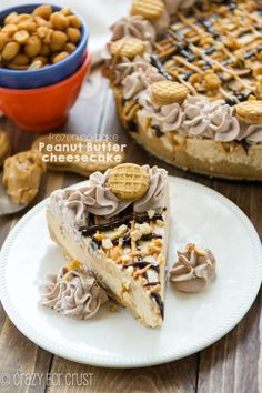 This No-Bake Frozen Peanut Butter Cheesecake | crazyforcrust.com