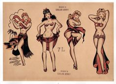 Sailor Jerry - pin up - i like the second from right - but as a brunette, of course...