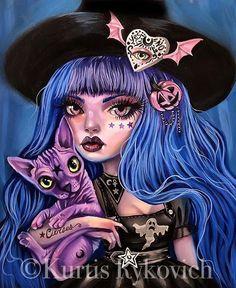 Fantasy Witch, Witch Art, Dark Fantasy Art, Dark Alice In Wonderland, Goth Disney, Sugar Skull Art, Halloween Drawings, Lowbrow Art, Sketch Painting