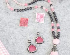 108 Pink Mala Necklace, rose quarts, pink jade, hematite and a pave strass silk tassel, 108 Mala beads, yoga gift, meditiation jewelry, pray