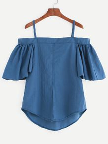 Blue Cold Shoulder Ruffled Sleeve Top