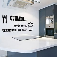 vinilos cocina - territorio chef Hotel Bathroom Design, Cafe Sign, Patio Bar, Kitchen Corner, Easy Home Decor, Restaurant Design, Office Decor, Sweet Home, Bedroom Decor