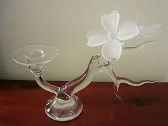 Hans Godo FRABEL STUDIO Art Glass DOGWOOD Branch Candle Holder (Two Available)