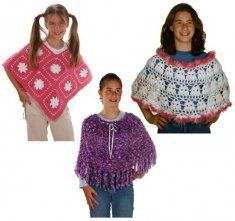 Create the perfect finishing touch for any ensemble with these three ponchos. There's one for every kind of occasion whether it be casual, formal or for play. Your little girl will be dressed to impress with these incredibly light and soft designs. They make great gifts and are the perfect start to a dress-up trunk for your daughter, granddaughter or niece.