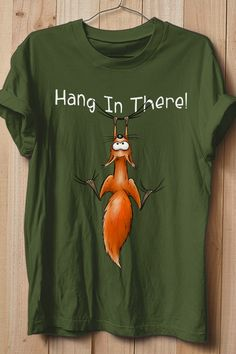 Cute Chilling Red Squirrel Cartoon Rodent Hang In There T-Shirt Squirrel Illustration, Red Squirrel, Rodents, Branded T Shirts, Fashion Brands, Cute Animals, Wildlife, Fans, Cartoon