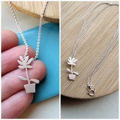 Lunahoo: Sterling silver flower necklace, Plant flowerpot, flower jewelry