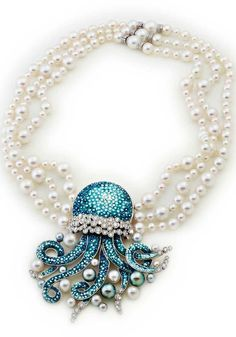 JAR Necklace in white gold 18 carats, diamonds, Akoya Pearls and Tahiti pearls and micromosaic by SICIS Jewels