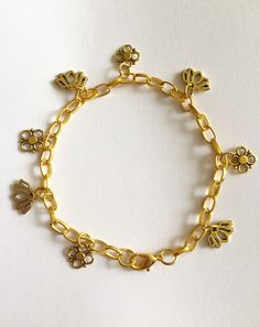 The Scent of Flowers Lotus Flower Gold Floral Charm Bracelet Organza Gift Bags, Lotus Flower, Plating, My Etsy Shop, Charmed, Bracelets, Floral, Flowers, Bloemen