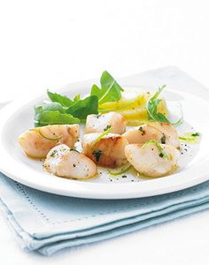 Fresh King Scallops with basil and lime butter