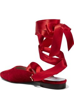 MR by Man Repeller - The Morning After Embossed Velvet Flats - Red - IT36.5