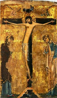 Georgia~~The Crucifixion icon from medieval Svaneti, century. Religious Images, Religious Icons, Religious Art, Byzantine Icons, Byzantine Art, Early Christian, Christian Art, Les Religions, Art Icon