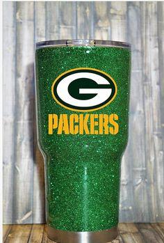 Green Bay Packers Custom Glitter Dipped Yeti RTIC Tumbler https://www.fanprint.com/licenses/green-bay-packers?ref=5750