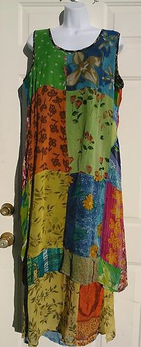 Sacred Threads Sz L Maxi Dress Patch Funky Boho Hippy Sleeveless Rayon | eBay