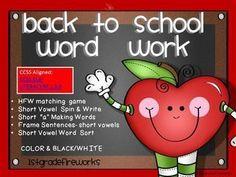 Back to School Word Work  77 pages of BACK TO SCHOOL WORD WORK!   http://www.teacherspayteachers/Store/1stgradefireworks