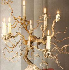 This candle holder/candelabra is perfect for rustic decorating styles, as well as country or southwestern decorating, and it will look well in any room in your Diy Lampe, Beton Design, Rustic Candles, Led Candles, Southwestern Decorating, Ideias Diy, Deco Floral, Rustic Furniture, Tree Branches