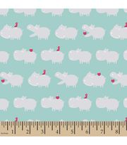 Snuggle Flannel Fabric-Hippo Light Aqua,