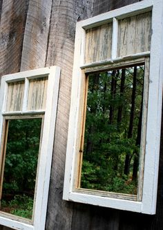 Try to make the yard seem bigger with outdoor mirrors-DIY Outdoor Mirrors out of Old Windows