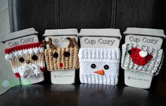 [Free Patterns] 4 Impossibly Cute Christmas Cozy Patterns – Knit And Crochet Daily - crochet mug cozy Crochet Coffee Cozy, Crochet Cozy, Cute Crochet, Coffee Cozy Pattern, Coffee Cup Cozy, Crotchet, Easy Crochet, Crochet Tree, Crochet Gifts