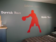 Wall Decal: 4' basketball player with players names.
