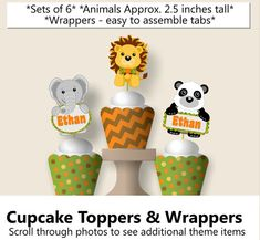Jungle Baby Shower Cupcake Toppers, Safari Cupcake Toppers, Birthday Supplies, Favor, Banner, Cake Topper, Cupcake, green, yellow, orange