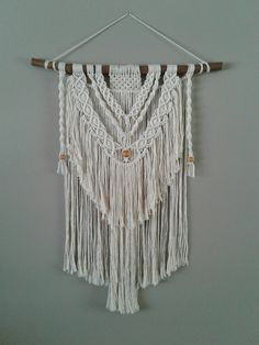 Macrame wall hanging, layered, beads,