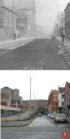 Gilkes Street, the old Marlboro cinema is the large building on the left of the old photo and the Green Tree pub can be seen on the right of both photos.