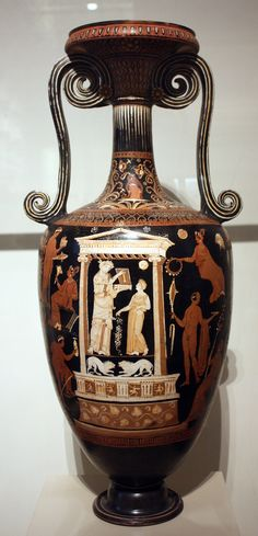 A red-figure loutrophoros from Apulia, 4th century BCE. These tall slim vessels with elongated handles were used during wedding and funeral rites and as grave markers, especially for those who died unmarried. This example depicts women and youths in preparation for a special ocassion. (Metropolitan Museum of Art, New York).