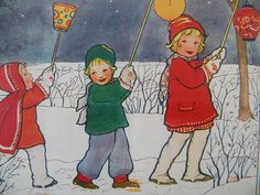 This is so charming and joyful- smiling faces and bright, happy colours. Vintage Cards, Vintage Postcards, Vintage Images, Winter Illustration, Children's Book Illustration, Christmas Art, Vintage Christmas, Art Carte, Dutch Artists