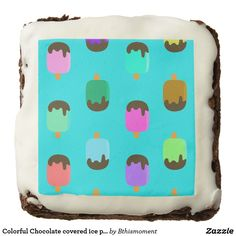 Colorful Chocolate covered ice pops turquoise brownie for summer parties