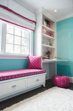 "Pinner said ""girls room - Evars + Anderson Interior Design""    Like the built-ins on window wall & colors"