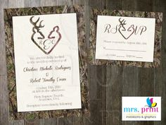 Camo Deer Hearts Wedding Invitation and RSVP Card by MrsPrint ...
