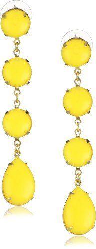Yochi Yellow Linear Stone Chandelier Earrings Yochi. $55.00. Post earring. Made in USA