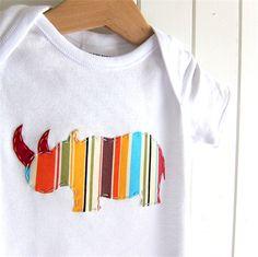 Little Rhino - applique onesie, stripes, baby gift, baby boy