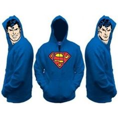 Superman hoodie with Superman face both sides of the hoodie! | Holycool.net