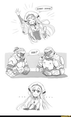 Get it because the goblin slayer on the left and the doom slayer on the right Anime Meme, Manga Anime, Character Art, Character Design, Fan Art Anime, Anime Crossover, Image Manga, Gaming Memes, Funny Games