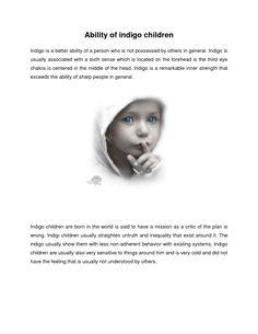 Characteristics of adult indigos