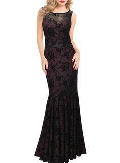 Miusol Women's Elegant Floral Lace Sleeveless Bridesmaid Fishtail Maxi Dress