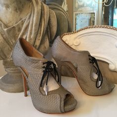"""Pour La Victoire Rima-Gray Snake open-toe pump Gorgeous Snake peep-toe shoe by Pour La Victoire. These beauties have a 4"""" spike heel with a 1"""" platform. The laces have tassels on the ends which are still covered in tissue. NWOB Pour la Victoire Shoes Heels"""