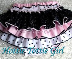 Ruffle Diaper Cover Pink Black & White Polka by HottieTottieGirl