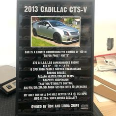Just shipped out this #carshowboard for a very nice and rare #cadillac #ctsv in the rare #silverfrostmatte finish! Get a sign for your car at showcarsign.com #cadillacctsv #supercharged #superchargedcadillac #ctsvnation #lsasupercharged #ls9 #ls9supercharged