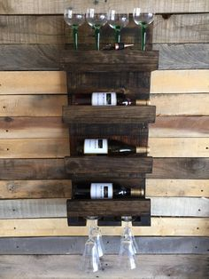 SALE Wall Mounted Rustic Wine Rack and Glass by LalasCollections
