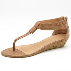 See this and similar sandals - Glam up your summer outfit in these strappy zip-up sandals. Featuring a low raffia wedge and flexible slip resistant outsole. Tan Wedge Shoes, Tan Strappy Sandals, Low Wedge Sandals, Low Wedges, Low Heel Shoes, Shoes Sandals, Sandals For Sale, Summer Shoes, Outfits
