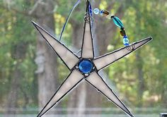 Whimsical Stained Glass Star White with Blue Nugget by miloglass, $16.00