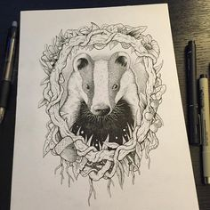 Badger, tattoo, woodland, gentleman, wind in the willows, literary, mole, watership down