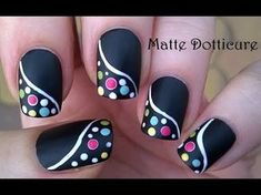 BLACK NAIL ART With Colorful FLORAL Design - YouTube
