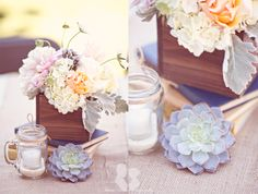 Love the wooden boxes and succulents
