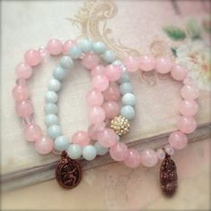 Pretty rose quartz and amazonite bead bracelets